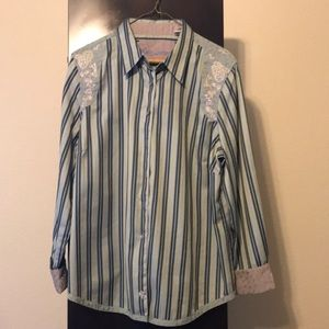 Button down embroidered striped blouse